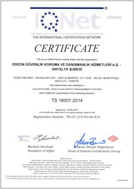 OGD Güvenlik - TSE ISG OHSAS TS 18001 Belgesi