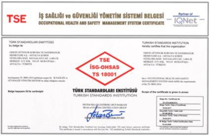 OGD Güvenlik - İş Sağlığı ve Güvenliği Yönetim Sistemi Belgesi