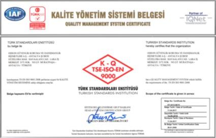 OGD Güvenlik - Kalite Yönetim Sistemi Belgesi